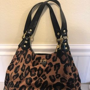 Used leopard coach bag